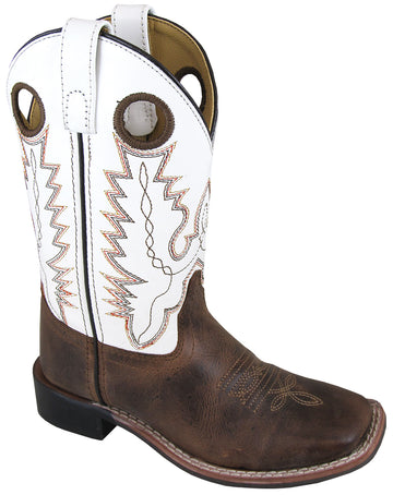 Smoky Mountain Youth Jesse Leather Square Toe Brown Waxed/White Western Cowboy Boot