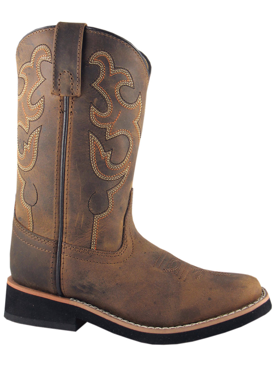 Smoky Mountain Youth Distressed Brown Pueblo Square Toe Cowboy Boot