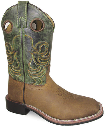 Smoky Mountain Boys Brown/Green Jesse Square Toe Western Cowboy Boot