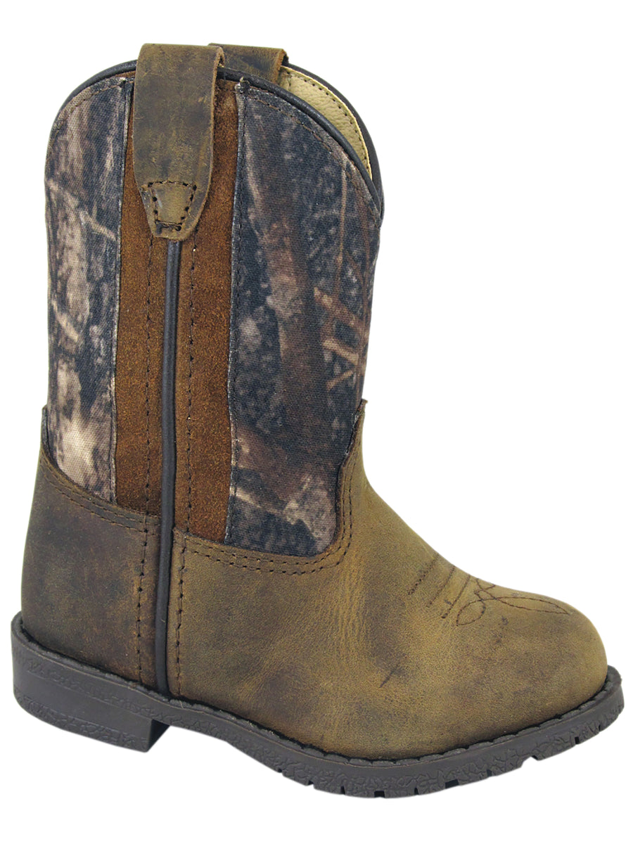 Smoky Mountain Toddler Hopalong Camo/Brown Distressed Cowboy Boot with Zipper