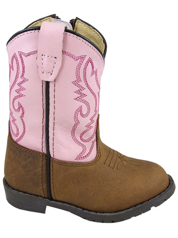 Smoky Mountain Toddler Hopalong Pink/Brown Distressed Cowboy Boot with Zipper