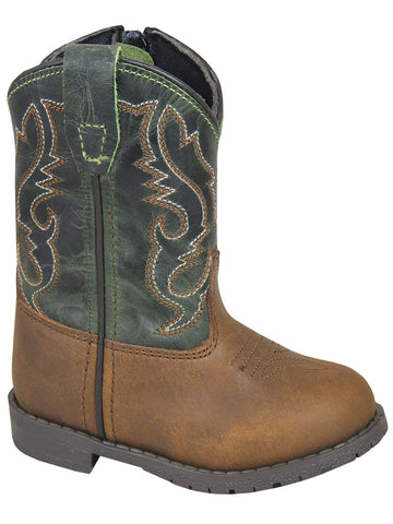 Smoky Mountain Toddlers Brown/Green Hopalong Western Cowboy Boot
