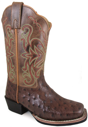 Smoky Mountain Children's Belle Pull On Distressed Square Toe Tobacco/Brown Crackle Boots