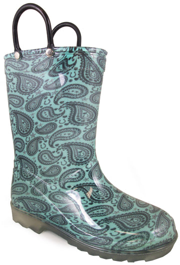 Smoky Mountain Toddlers' Lightning Rubber Round Toe Rain Waterproof Turquoise PVC Boots