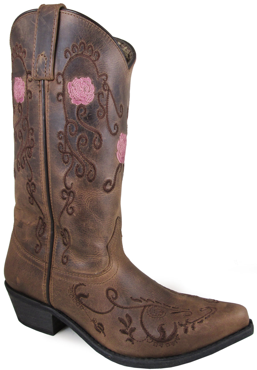 Smoky Mountain Women's Rosette Pull On Embroidered Floral Snip Toe Brown Oil Distress Boots