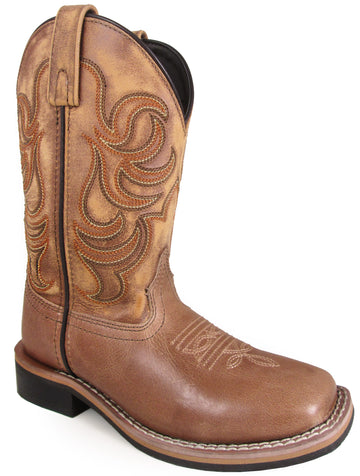 Smoky Mountain Youths' Leroy Stitched Design Leather Square Toe Pull On Straps Tan Boots