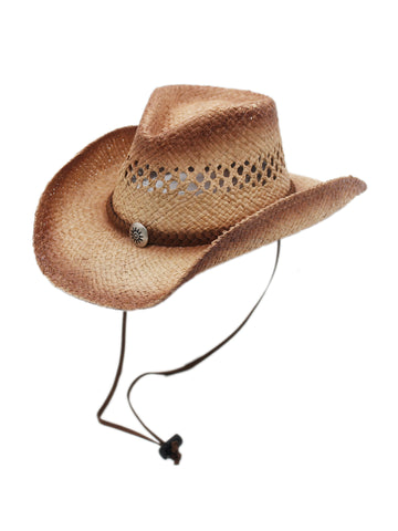 Silver Canyon Men's Tucson Raffia Straw Cowboy Sun Hat w/ Chin Strap - Natural