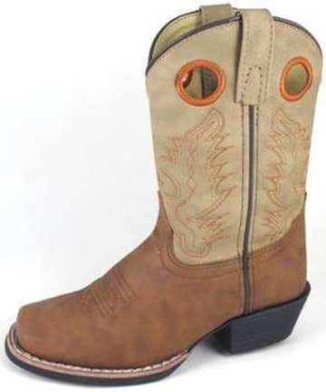 Smoky Mountain Childs Memphis Sq Toe Boot Brown/Pink - westernoutlets