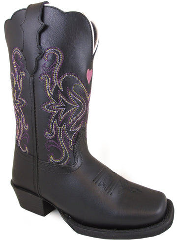 Smoky Mountain Youths' Rockin Heart Pull On Straps Stitched Design Square Toe Black Boots