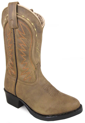 Smoky Mountain Youths' Sienna Stitched Pull On Straps Narrow Round Toe Tan Western Boots
