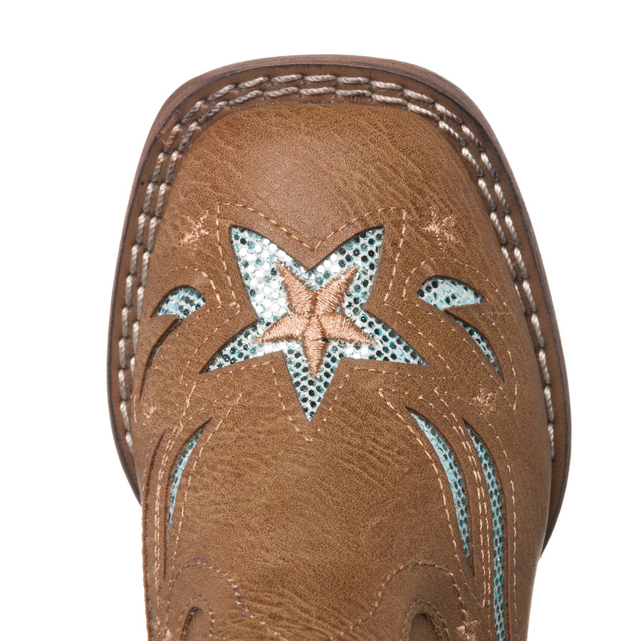 Children Western Kids Cowboy Boot | Star Glitter Toddler Tan Square Toe for Girls by Silver Canyon