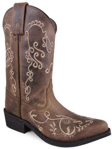 Smoky Mountain Children's Jolene Pull On Embroidered Snip Toe Brown Waxed Distress Boots
