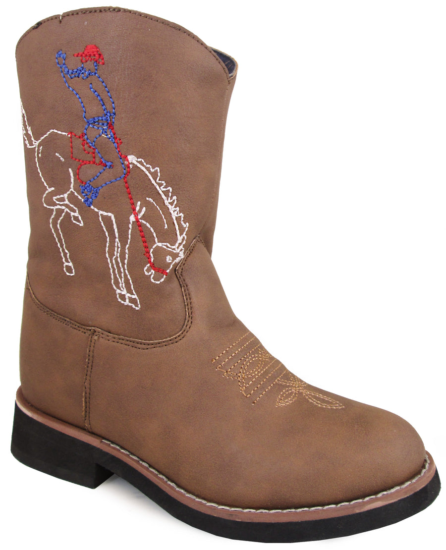 Smoky Mountain Children's Night Horse Slip On Stitched Design Round Toe Brown Distress Boots