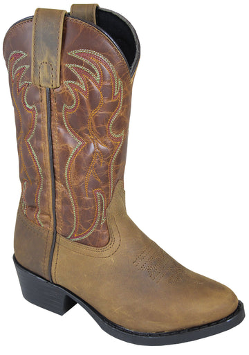 Smoky Mountain Youth Tonto Distressed Leather Shaft Round Toe Brown/Brown Western Cowboy Boot