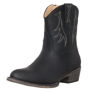 Womens Western Short Cowgirl Cowboy Boot Black Madison Round Toe by Silver Canyon
