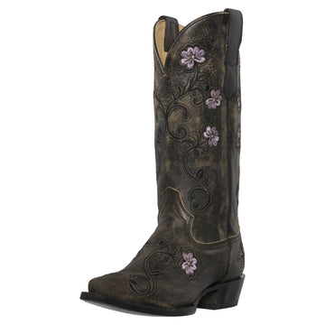 Womens Western Cowgirl Cowboy Boots, Florence Heritage Square Snip Toe by Silver Canyon, Black, Purple Flowers