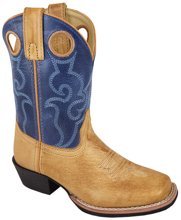 Smoky Mountain Youth Clint Leather Embroidered Pull Holes Square Toe Bomber Tan/Blue Western Cowboy Boot