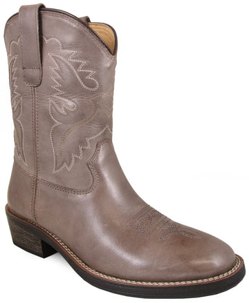 Smoky Mountain Women's Grove Stitched Design Pull On Narrow Round Toe Gray Western Boots