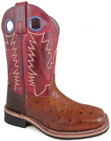 Smoky Mountain Youths' Cheyenne Pull On Square Toe Distressed Cognac/Red Crackle Boots
