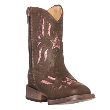 Children Western Kids Cowboy Boot | Star Glitter Toddler Brown Square Toe for Girls by Silver Canyon