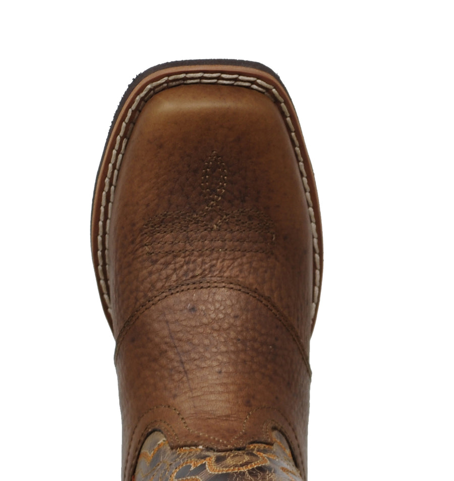Smoky Mountain Kids Luke Western Cowboy Boots Patterned Leather Square Toe Brown