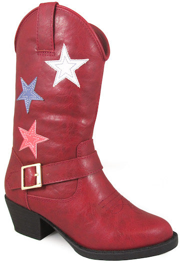 Smoky Mountain Children's Star Bright Stitched Design Western Toe Cowboy Heels Red Riding Boots