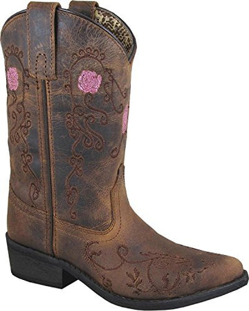 Smoky Mountain Children's Rosette Pull On Embroidered Floral Snip Toe Brown Oil Distress Boots