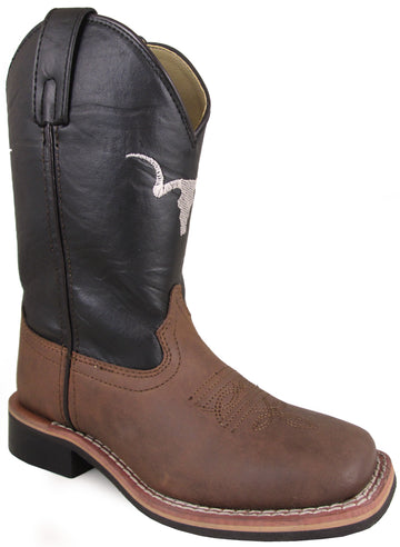 Smoky Mountain Children's The Bull Two-Tone Leather Square Toe Brown Distress/Black Boots