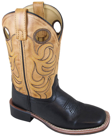 Smoky Mountain Youth Jesse Leather Square Toe Black/Bomber Tan Western Cowboy Boot