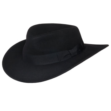 Men's Indiana Outback Fedora Hat |Black Crushable Wool Felt by Silver Canyon