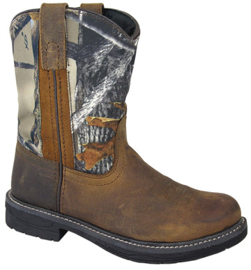 Smoky Mountain Youth Buffalo Wellington Distressed Leather Round Toe Brown/Camo Western Cowboy Boot