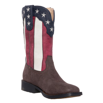 Children Western Kids Cowboy Boot, Americana Flag Square Toe, Austin by Silver Canyon, Boys, Girls