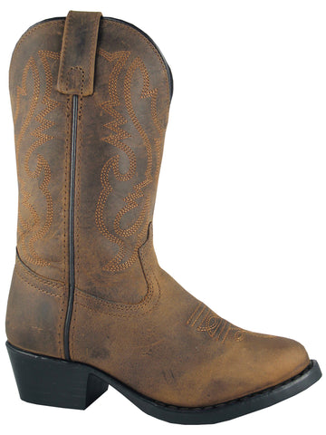 Smoky Mountain Toddler Denver Distressed Brown Leather Cowboy Boots Black