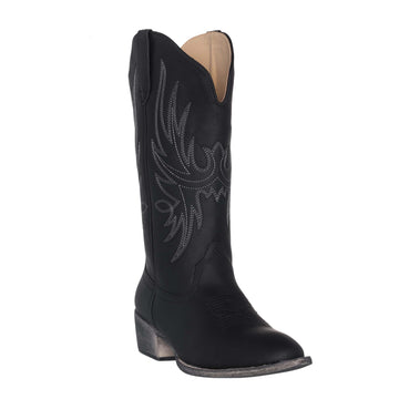 Women's Western Cowgirl Cowboy Boot | Black Cimmaron Round Toe by Silver Canyon