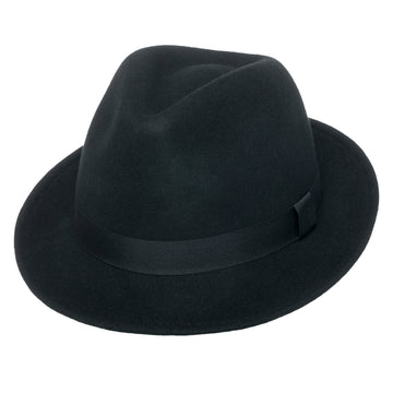 Men's Wool Fedora Hat | York Black Crushable Snap Brim Wool Felt by Silver Canyon