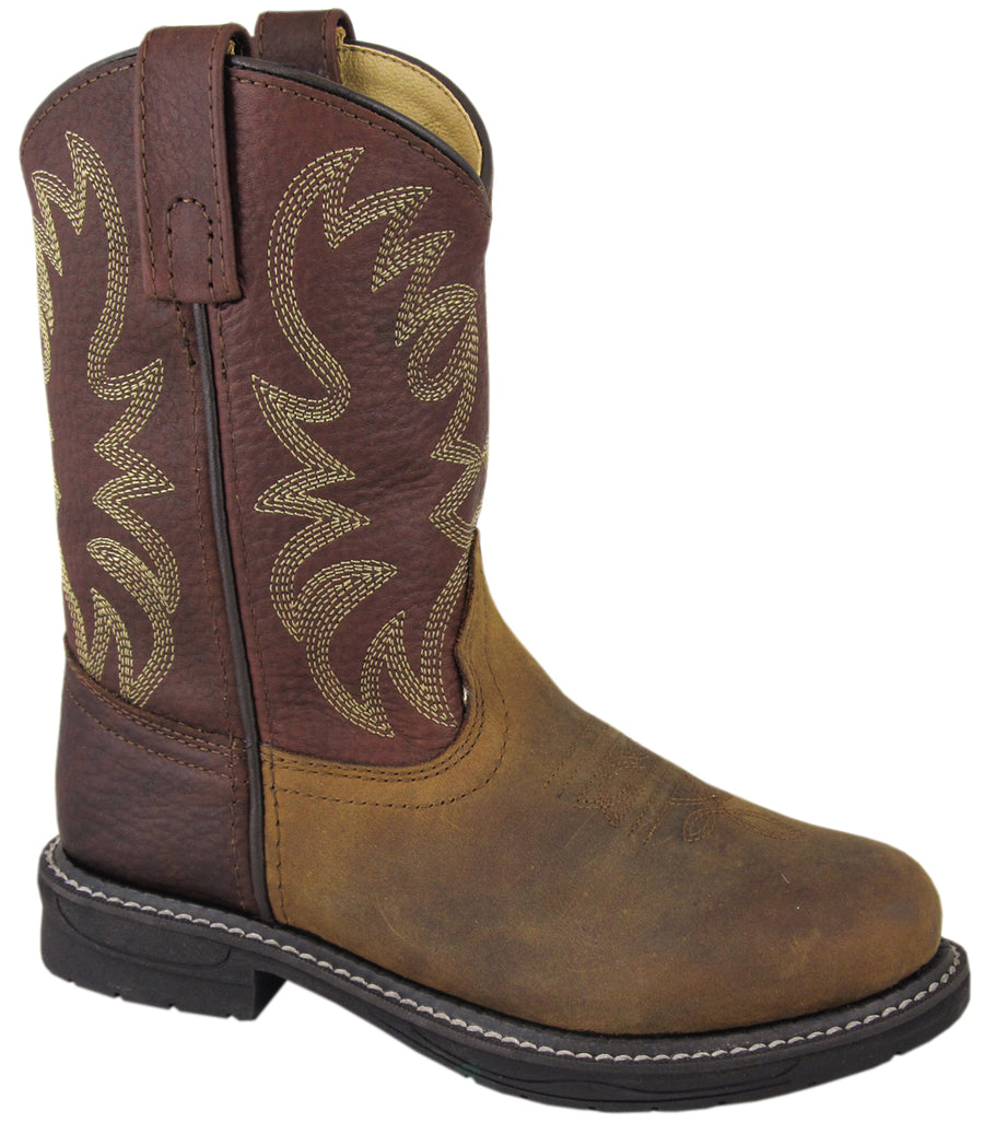 Smoky Mountain Youth Buffalo Wellington Oiled Distressed Leather Round Toe Brown Western Cowboy Boot