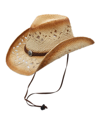 Silver Canyon Men's Sonoma Raffia Straw Cowboy Sun Hat w/ Chin Strap - Natural