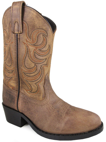 Smoky Mountain Children's Otis Stitched Design Pull Straps Round Toe Tan Western Boots