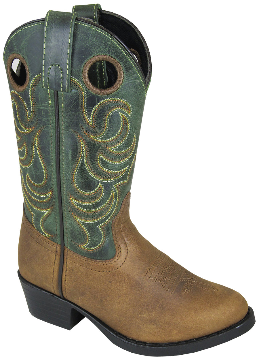 Smoky Mountain Youth Henry Distressed Leather Shaft Round Toe Brown/Green Western Cowboy Boot