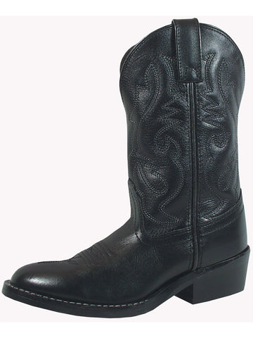 Smoky Mountain Youths Black Denver Leather Cowboy Boots