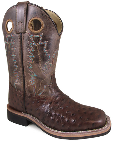 Smoky Mountain Children's Cheyenne Pull On Square Toe Distressed Tobacco/Brown Crackle Boots