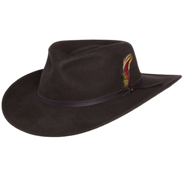 Men's Outback Wool Cowboy Hat |Montana Brown Crushable Western Felt By Silver Canyon