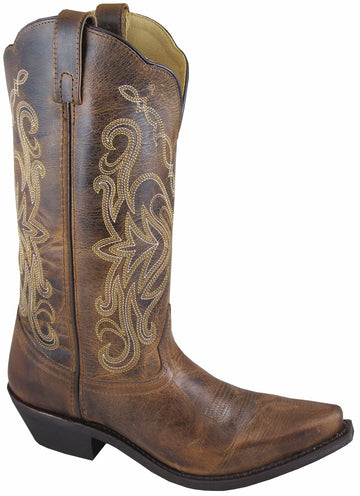 Smoky Mountain Boots Women's Western Snip Toe Cowboy Boot Madison Distressed Brown
