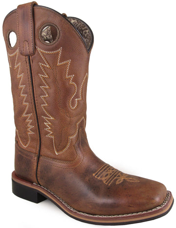 Smoky Mountain Women's Napa Grainy Leather Stitched Design Pull On Square Toe Brown Boots