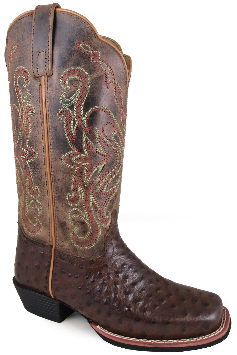 Smoky Mountain Women's Belle Pull On Distressed Square Toe Tobacco/Brown Crackle Boots