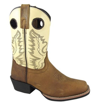 Smoky Mountain Childs Western Mesa Square Toe Boots Brown Distress/Creme