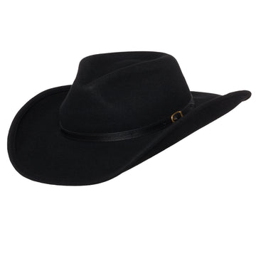 Men's Outback Wool Cowboy Hat |Dakota Black Shapeable Western Felt by Silver Canyon