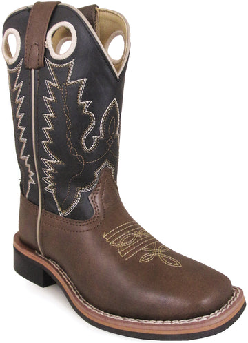 Smoky Mountain Youth Blaze Stitched Design Rubber Sole Square Toe Brown/Black Western Cowboy Boot