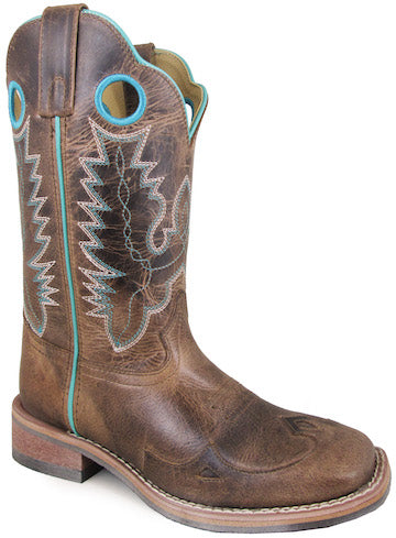 Smoky Mountain Women's Marianna Pull On Holes Stitched Design Square Toe Brown Waxed Distress Boots