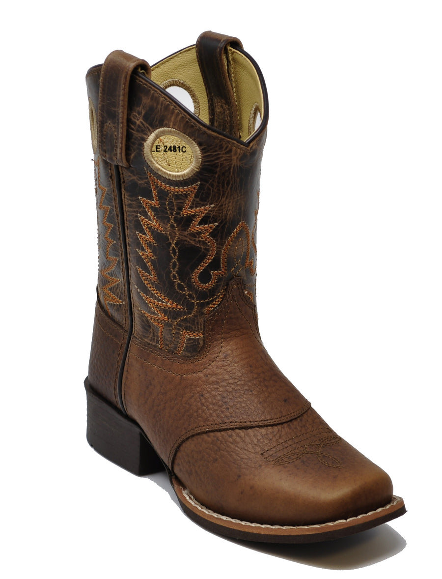 Smoky Mountain Youth Luke Square Toe Western Cowboy Boots Brown